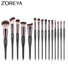 Zoreya Brand High Quality 15pcs Synthetic Hair Makeup Brushes eye shadow powder lip Crease Brush Set