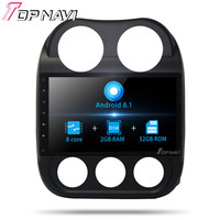2 din Multimedia Player For Jeep Compass 2010 10.1'' Android 8.1 Big Capacitive Multi HD Screen Vehicle Multimedia Radio Stereo
