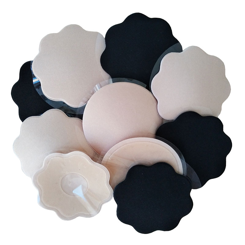 Black Stick On Nipple Daisies Self Adhesive Breast Cover Braless Pads 10 Nude