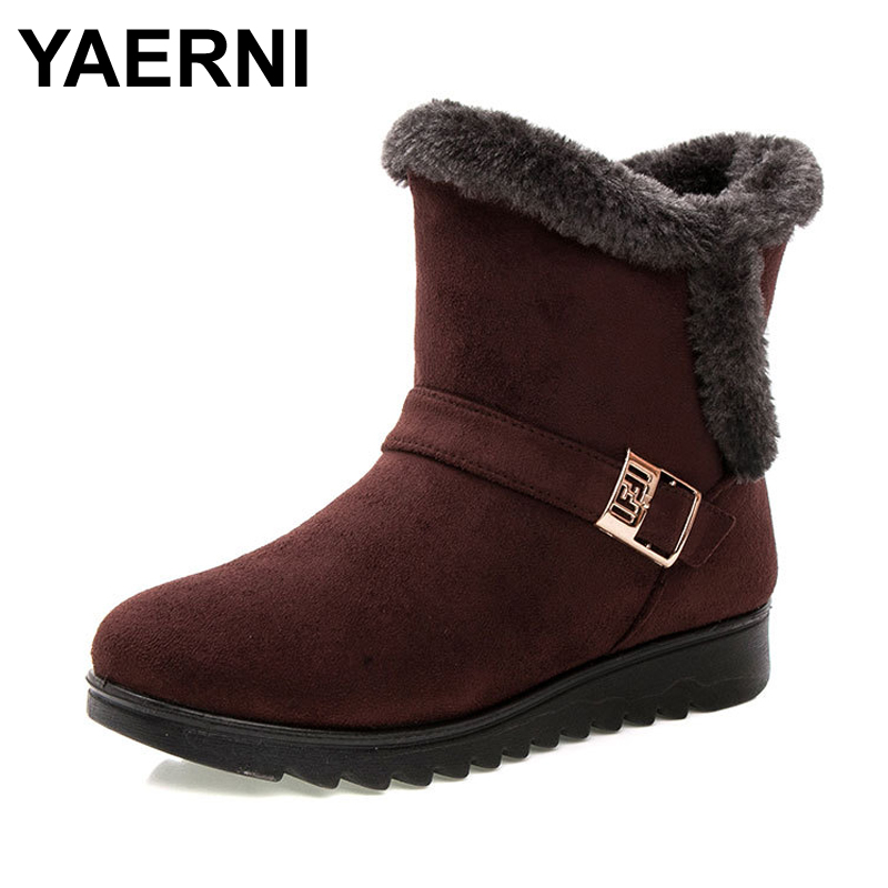 a173b0a432c1 YAERNI Women Boots 2018 Fashion Warm Snow Boots Ankle Winter Boots For Women  Shoes Black Red