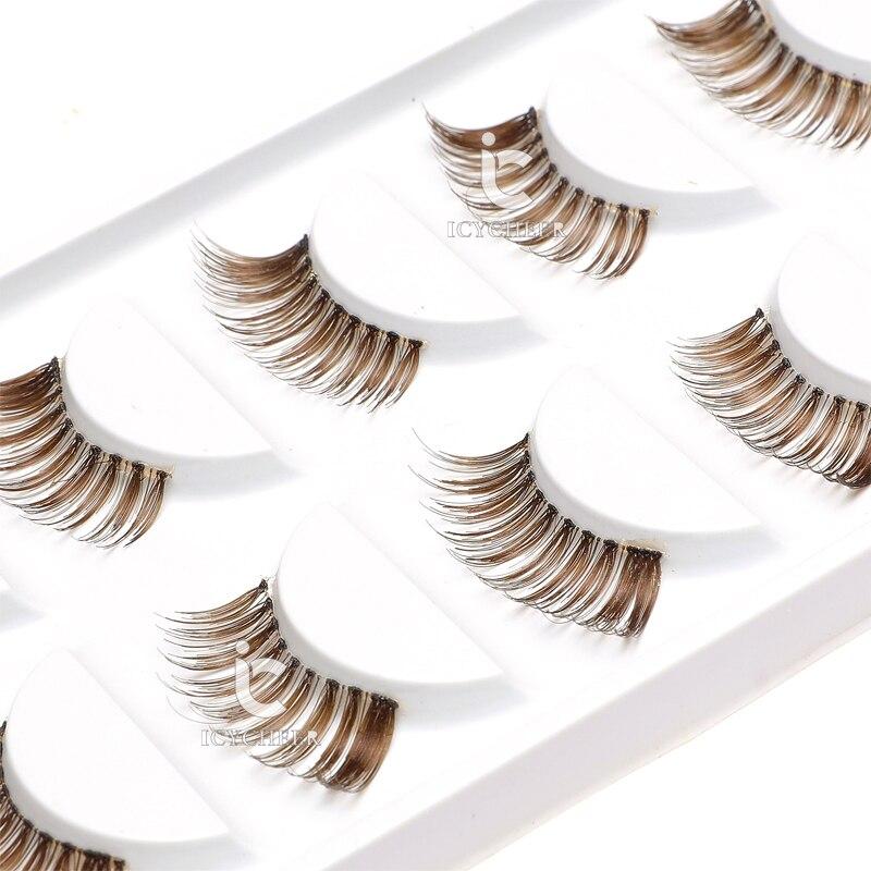 ICYCHEER Makeup Brown False Eyelashes Natural Mini Half Corner 5 Pairs Cometic S