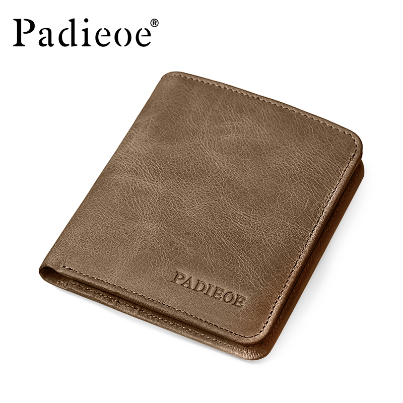 Men short section leather vertical section cow leather wallet youth student personality wallet multi-card bit card package
