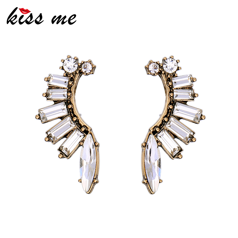KISS ME Geometric Transparent Crystal Stud Earrings Fashion Jewelry Antique Gold Color Accessories For Women