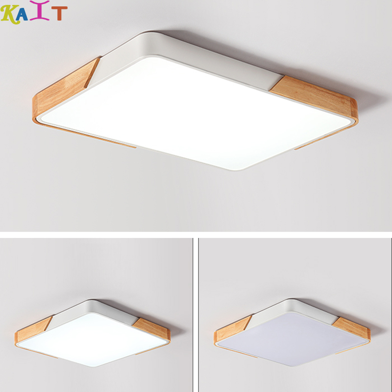 Living room light wood rectangular ceiling lamp modern bedroom Nordic ultra-thin led