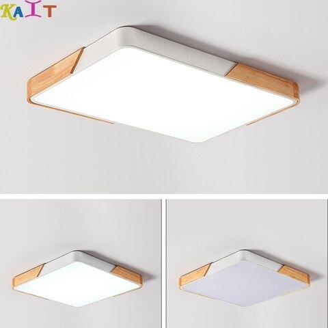 lampada moderna lampada quarto luz sala de estar luz de teto retangular de madeira nordica