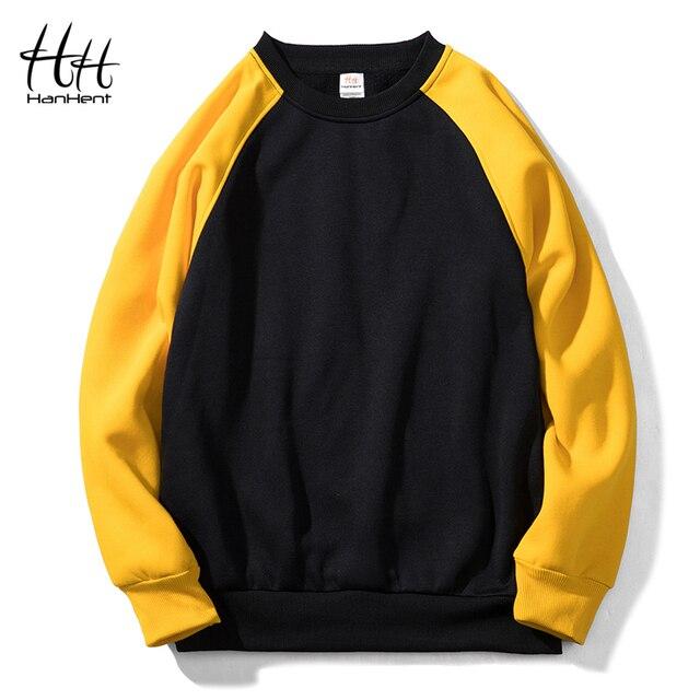 Patchwork Crewneck Sweatshirts Men Fleece Hoodies