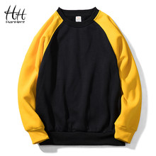 HanHent Patchwork Crewneck Sweatshirts Men 2018 Fleece Hoodies Pullover Fashion Streetwear Hoodie Yellow and Black Hip Hop(China)