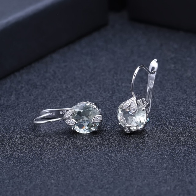 GEM'S BALLET 925 Sterling Silver 6.65Ct Natural Green Amethyst Gemstone Wedding Engagement Stud Earrings for Women Fine Jewelry