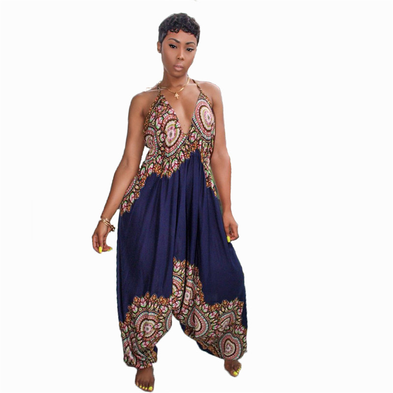 Dashiki Traditional African Print Jumpsuit Women Harem Romper Summer Loose Backless Baggy Jumpsuit Traditional African Attire