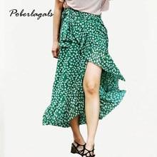 19e689f191 Verano estilo Casual irregularwomen playa boho maxi falda 2018 gasa Floral  verde impreso Lotus abrigo falda de encaje faldas