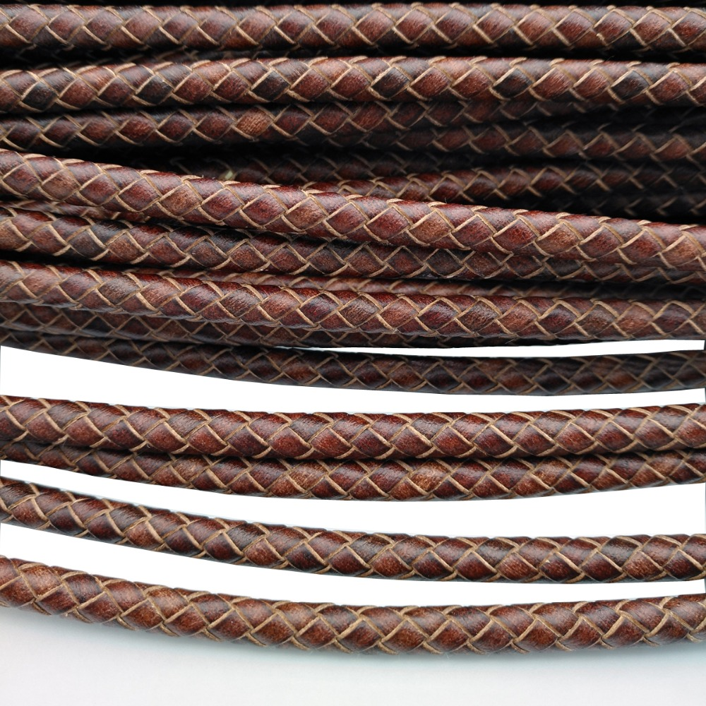 """Genuine Round Bolo Braided Leather Cord 6 MM 1//4/"""" DIY Craft Jewelry Supplies"""