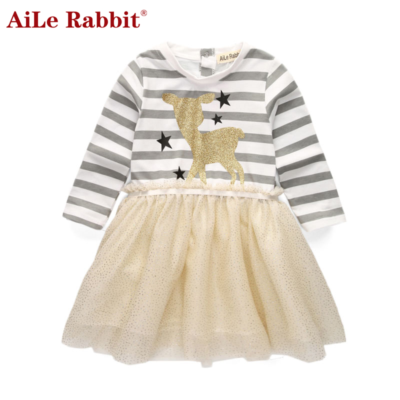 AiLe Rabbit New Autumn Brand Girls Dress Deer Star Striped Long-sleeved Sequin Dress Children's Casual Full Print Clothing k1