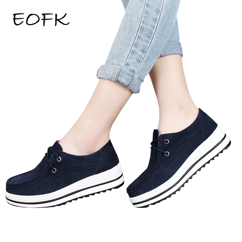 EOFK Women Flat Shoes Woman Winter   Suede     leather   Shoes Platform Ladies High Quality Comfortable Thick Sole Women's Casual Shoes