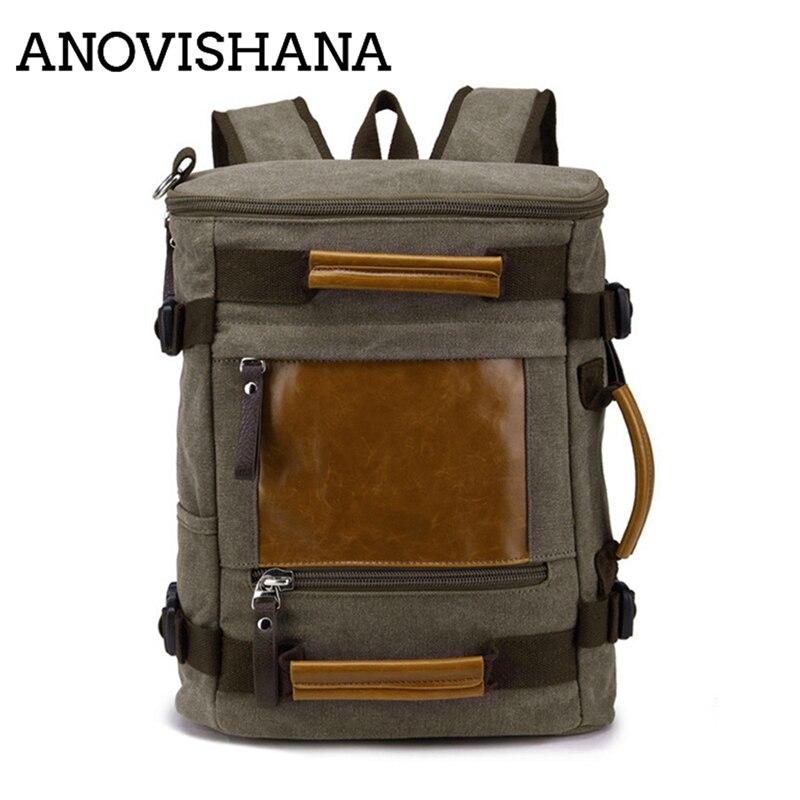 ANOVISHANA décontracté hommes sac à dos toile collège étudiant rétro sacs à dos homme sac de voyage multi-fonction sacs pour ordinateur portable Vintage