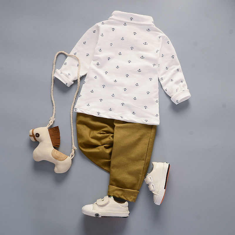 Childrens Long-sleeved Sports Suit Casual Suit Baby Boy Navy Polo Shirt Lapel Boy Long-sleeved T-shirt+Trousers Two-piece Suit
