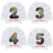 Childrens I Am Groot Fashion Cotton Birthday Number Long Sleeve T-shirts Kids Tops Baby Girl Harajuku Clothes
