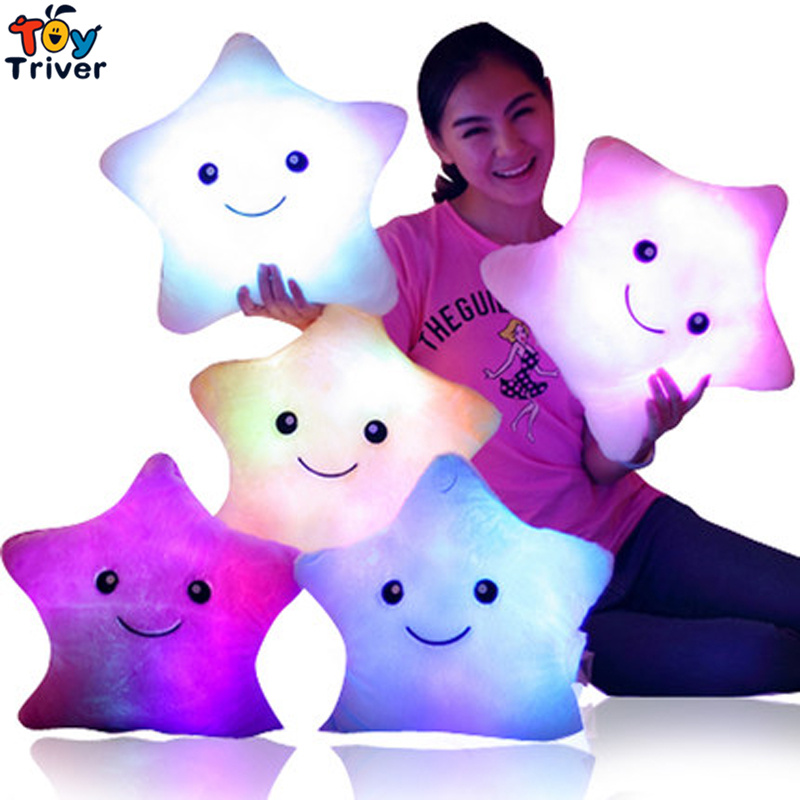 LED light-up toys Luminous Five Stars Glow light Pillow Plush Stuffed Doll Party Birthday baby kids Gift Home Living Decoration