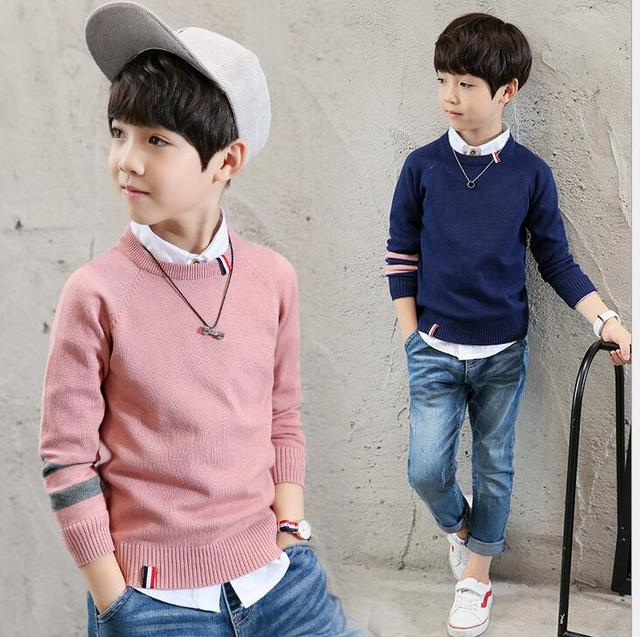 7e09dd054 Handsome boy Casual knitwear Boys Sweaters Pullovers Cotton Clothing ...