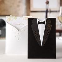 25 Sztuk Laserowego Cięcia Papieru Koperty Zaproszenia Zaproszenia Ślubne Groom & Panna Młoda W Stylu Western Ubrania Konfigurowalny Karty