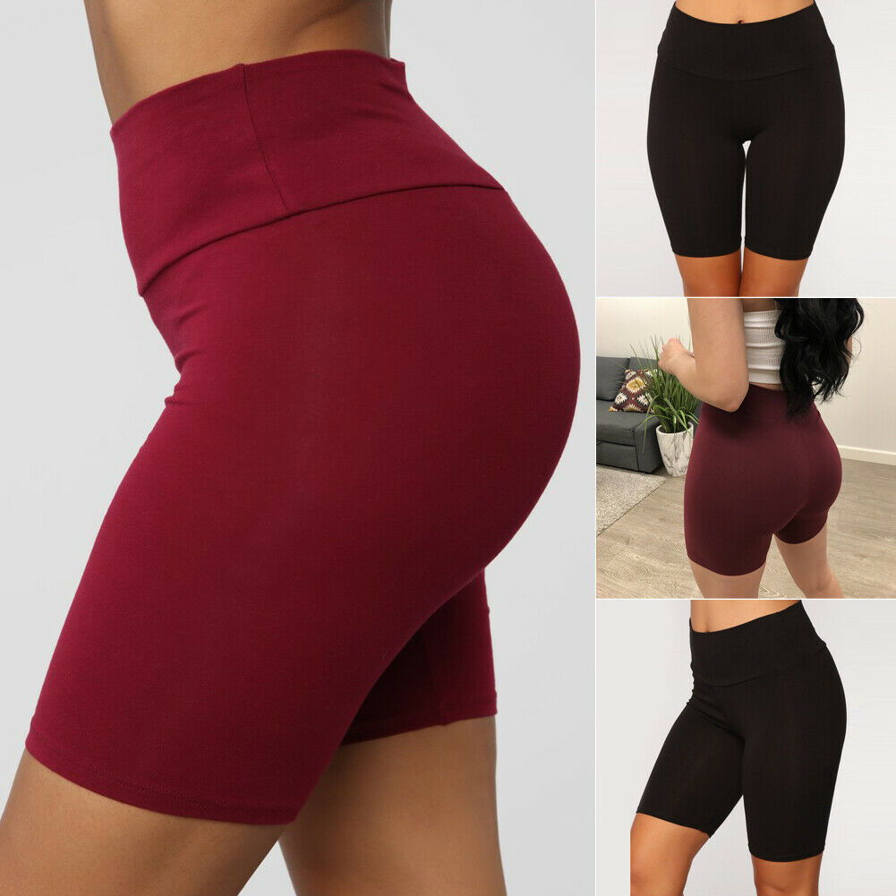 Summer Casual Sport Jogger Women Plain Stretchy High Waist Workout Fitness Biker Shorts Club Wear Dance Summer Shorts