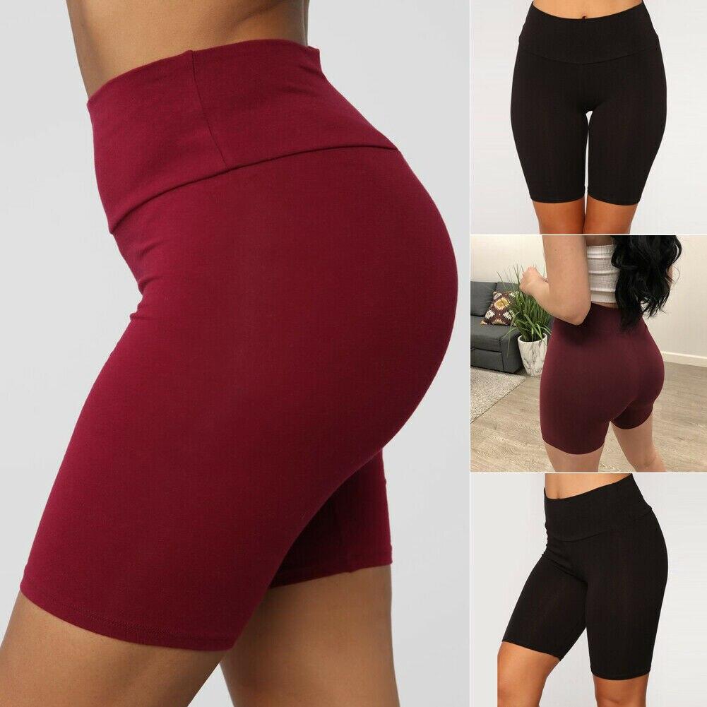Summer Casual Sport Jogger Women Plain Stretchy High Waist Workout Fitness Biker Shorts Club Wear Dance Summer Shorts