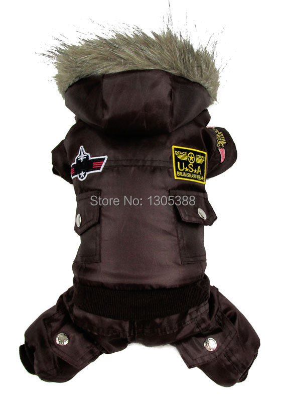 Brown USA Airman Style Pet Dog Coat Warm Dog Small Dog Apparel Fleece Winter Snowsuit Jumpsuit Hooded Waterproof