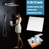 Bathroom Ultrathin Rainfall Shower Set System 2 Functions Mixer Shower Faucet Chrome Wall Mounted Shower Head
