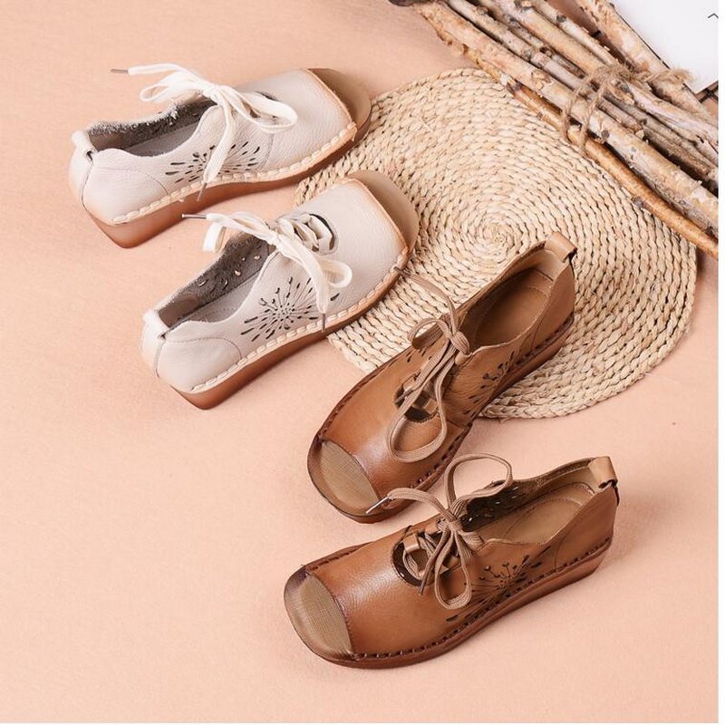 2019 summer new Genuine Leather Gladiator Sandals retro handmade Lace Up Flat Heels Sandals Ladies Casual flat Shoes - 5