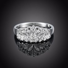 Vintage Crown Design Fine Jewlery 925 Sterling Silver Rings For Women Wedding Jewelry Full Clear Diamond Engagement Ring(China)