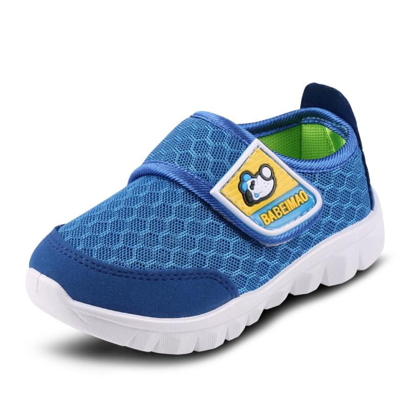کفش کودکان و نوجوانان کفش پسرانه 2017 بهار تابستانی مش تنفس کودک نو پا کفش کودکان گاه به گاه کفش ورزشی کفش ورزشی تنها