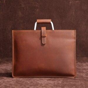 Image 1 - Haute qualité Vintage cheval fou en cuir Document sac mode Horizontal A4 hommes sac à main en cuir véritable mince mallette