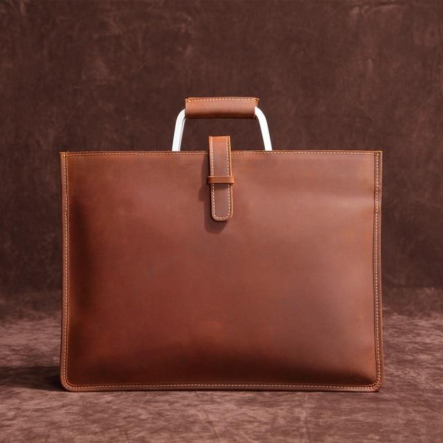 Haute qualité Vintage cheval fou en cuir Document sac mode Horizontal A4 hommes sac à main en cuir véritable mince mallette
