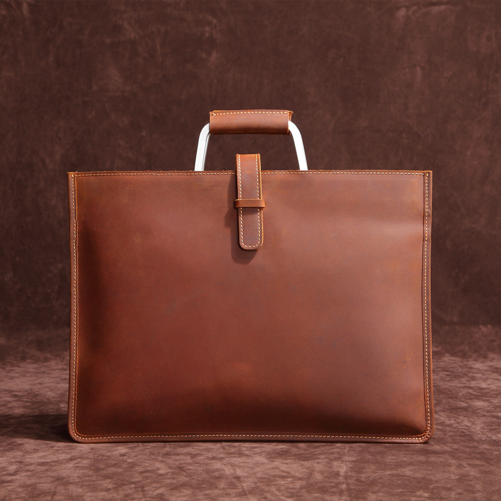 High Grade Vintage Crazy Horse Leather Document Bag Fashion Horizontal A4 Men Handbag Genuine Leather Thin Briefcase