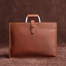 High Grade Vintage Crazy Horse Leather Document Bag Fashion Horizontal A4 Men Handbag Genuine Leather Thin Briefcase