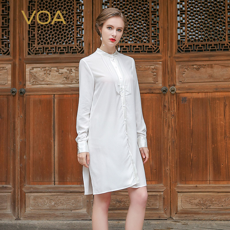 VOA long 100 silk white font b shirt b font new Summer 2017 fashion loose long