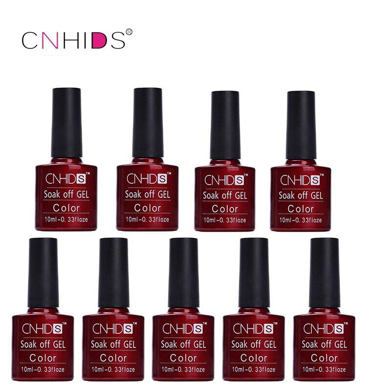 CNHIDS 9 PCS Nail Gel Polish LED Brillant Coloré 132 Couleurs 10 ML Longue durée soak off Vernis pas cher Manucure