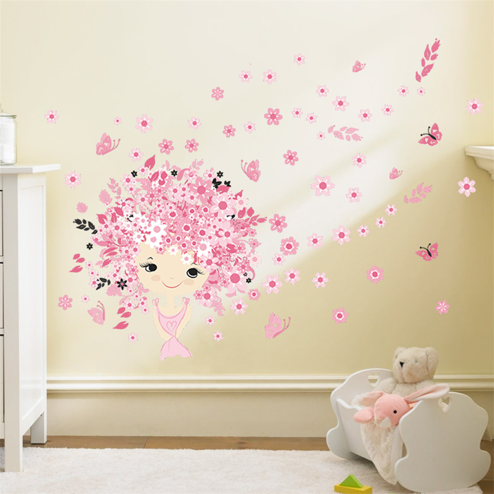 flower flower fairy pink cute baby girl mermaid butterfly home decor wall sticker for girls baby. Black Bedroom Furniture Sets. Home Design Ideas