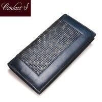 Kontakt's Handmade kobiety portfel kopertówka 2020 prawdziwej skóry portfel wysokiej marka jakości projektowania mody panie portfel w Portfele od Bagaże i torby na