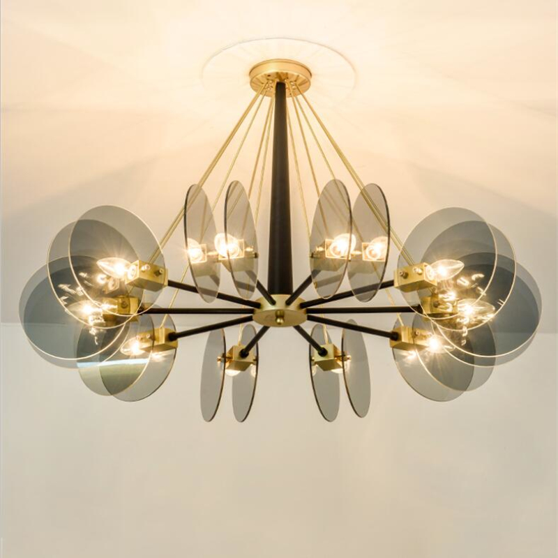 Nordic Circular Glass Plate Living Room Led Chandelier Personality Hotel Hall Pendant Lamp Art Design Home Decoration Hanglamp