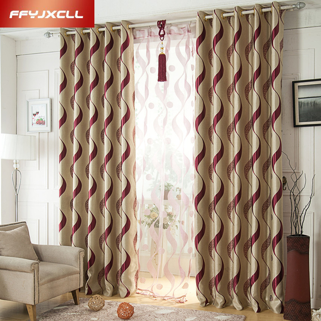 Red And Brown Living Room Curtains Fendi Furniture Europe Style Wine Striped Tulle Fabric Bedroom Blackout Curtain Window Treatment Drapes Home Decor