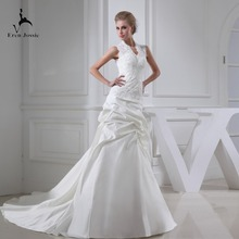 Eren Jossie White Ivory Court Train Outdoor Sleeveless Gown