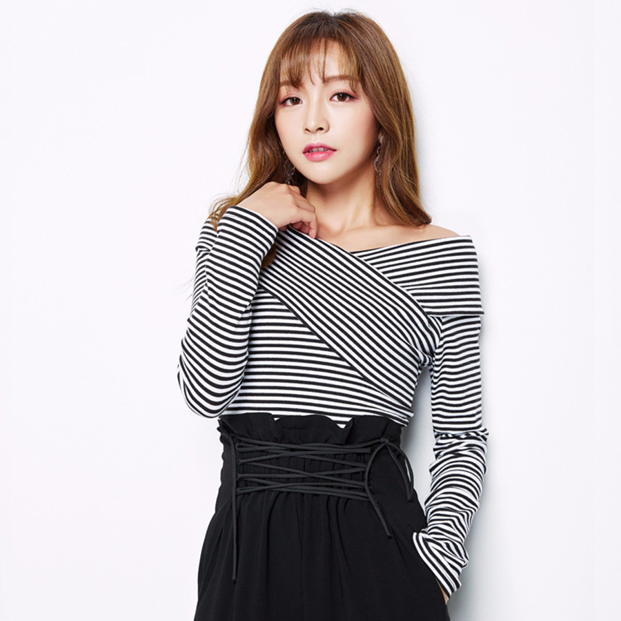 Long Sleeve Cross Front Casual Striped T-Shirt Women V Neck Sexy Top Black White Stripes Roupas Feminina Korean Clothing 80G0087