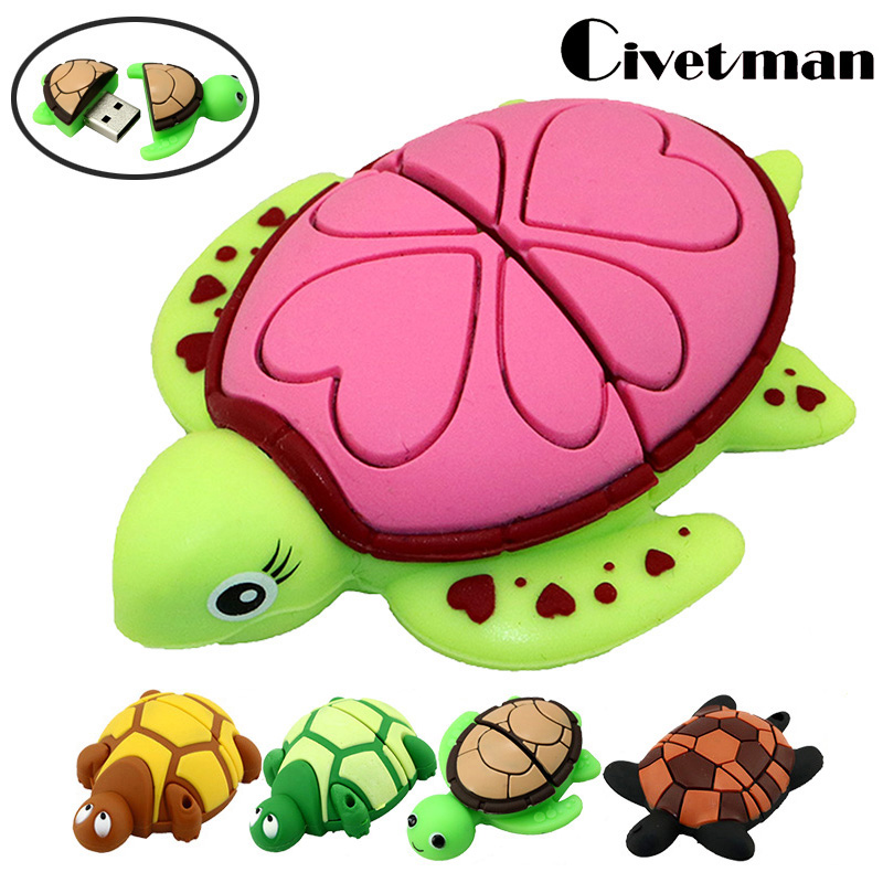 USB Flash Drive Tortoise Στυλό Drive 4GB 8GB 16GB 32GB 64GB 128GB Ζιργκόν Ζώων USB Flash Pendrive Memory Stick Δώρα