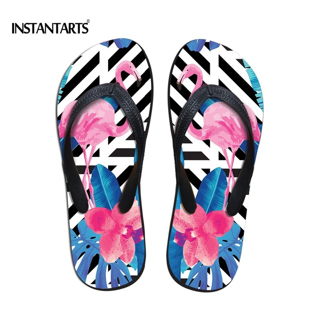 b38f80ff573b4 INSTANTARTS Fashion Women Flip Flops Cute Animal Flamingo Pattern Soft  Rubber Outside Slippers for Female Summer Non-slip Flats