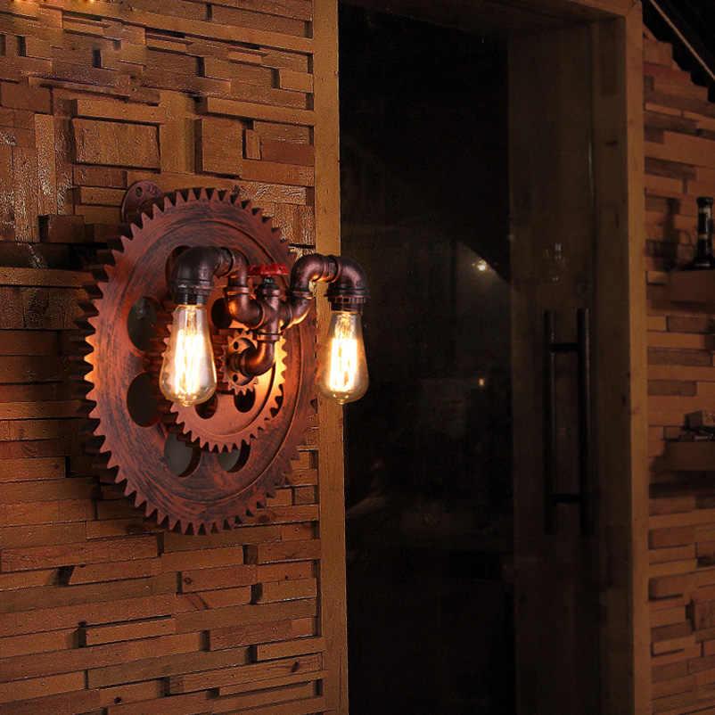 Industrie wind Retro loft art holz wand lampe eisen rohr licht gang korridor restaurant wohnzimmer schlafzimmer club Kino cafe licht