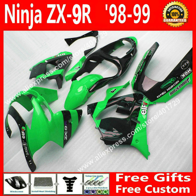 ABS plastic  Fairings for 1998 1999 bodywork  Kawasaki   ZX9R 98 99    light green black fairing 7 gift KL067