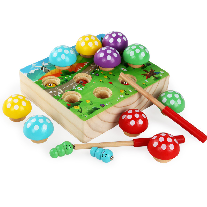 Baby Wooden Montessori Toys Magnetic Fishing Toys Mushroom Forest Catch Worm Game Educational Puzzle Toys For Children Girl Gift image