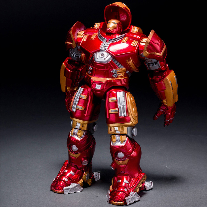 Avengers 2 Iron Man 18CM Hulkbuster Armor Joints Movable PVC Action Figure Mark With LED Light Collection Model Toy For Kids #E avengers black widow alltronic era movable joints boxed hand do pvc action figure collectible toy