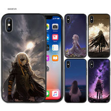 Black Rubber Soft Silicone Case Bag Cover for iPhone XS XR X 7 8 6 6S 5C 5E 5S 5 Plus Max Shell Fundas love Anime Lovely girl(China)