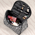 Raya de la cebra charol del bolso del maquillaje de viaje impermeable bolso ocasional para las damas BS88